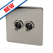 Crabtree 2-Gang 2-Way 10AX Toggle Switch Black Nickel