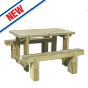 Forest Sleeper Garden Table & 2 x Benches 1200 x 700 x 750mm