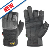 Snickers Power Performance Open 3-Finger Gloves Black/Grey Large