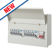LAP 10-Way Fully Populated Dual RCD Consumer Unit + 10 MCBs
