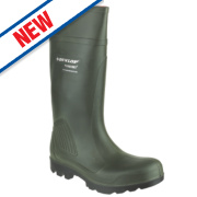 Dunlop Purofort Non-Safety Wellington Boots Green Size 5