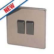 Varilight 10A 2-Gang 2-Way Rocker Switch Polished Bronze 230V