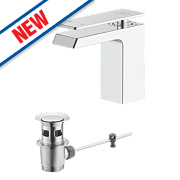 Watersmith Danube Bathroom Waterfall Basin Mixer Tap w/ Pop-Up Waste
