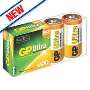 GP Batteries Ultra Alkaline Batteries D Pack of 4