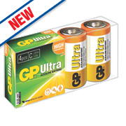 GP Batteries Ultra Alkaline Batteries C Pack of 4
