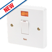 Crabtree 20A 1G Fan Switch & Neon White Pack of 10