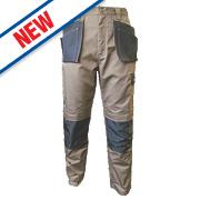 """JCB TradeMaster Work Trousers Sand/Black 30"""" W 32"""" L"""