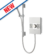 Aqualisa Sassi Electric Shower White / Chrome / Glass 8.5kW