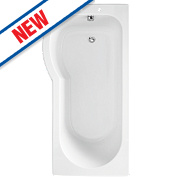 Supercast P-Shape Shower Bath LH Acrylic No Tap Holes 1675mm