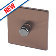Varilight 1-Gang 2-Way Push Dimmer Switch Brushed Bronze 230V