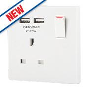 BG 13A 1-Gang SP Switched Socket & 2-Gang USB Charger Port White
