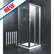 Bi-Fold Shower Enclosure Square Silver 880 x 1850mm
