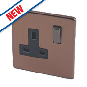 Varilight 13A 1G Double Pole Switched Socket Brushed Bronze 230V