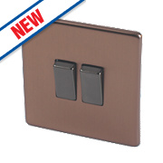 Varilight 10A 2-Gang 2-Way Rocker Switch Brushed Bronze 230V