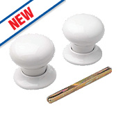 Porcelain Mortice Knobs Pair White 60mm