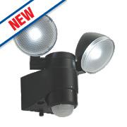 Saxby Laryn LED Floodlight & PIR Black 2 x 2W