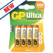 GP Batteries Ultra Alkaline Batteries AA Pack of 4