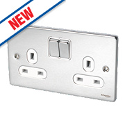 Schneider Electric Ultimate 2-Gang 13A SP Switched Socket Polished Chrome