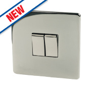 Crabtree 2-Gang 2-Way Switch Black Nickel