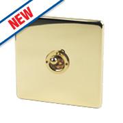 Crabtree 1-Gang 2-Way 10AX Toggle Switch Pol Brass Flat Plate