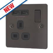 LAP 13A 1-Gang SP Switched Socket & 2-Gang USB Charger Port Black Nickel