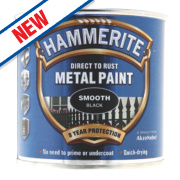 Hammerite Smooth Metal Paint Black 250ml