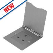 BG 1-Gang Unswitched Brushed Steel Floor Socket