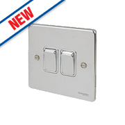 Schneider Electric 2-Gang 2-Way 16AX Light Switch Polished Chrome