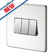 Crabtree 10AX Switch Polished Chrome Flat Plate 3-Gang 2-Way