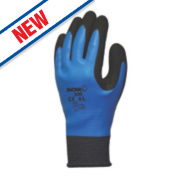 Showa 306 Fully-Coated Latex Grip Gloves Blue/Black Medium