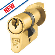 Eurospec 5-Pin Keyed Alike Euro Cylinder Thumbturn Lock 30-30 (60mm) Polished Brass