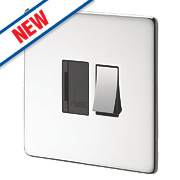 Crabtree 13A Switched FCU Blk Ins Pol Chrome Flat Plate
