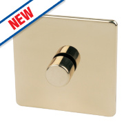 Crabtree 1-Gang 2-Way 250W Dimmer Polished Brass Flat Plt