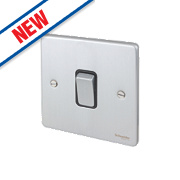 Schneider Electric 1-Gang 2-Way 16AX Light Switch Brushed Chrome
