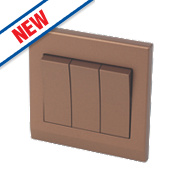Retrotouch Simplicity 3-Gang 2-Way 10A Switch Bronze