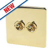 Crabtree 2-Gang 2-Way 10AX Toggle Switch Pol Brass Flat Plate