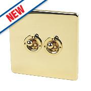 Crabtree 2-Gang 2-Way 10AX Toggle Switch Pol Brass Flat Plate