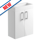 Cloakroom Vanity Unit White Gloss 500 x 246 x 598mm