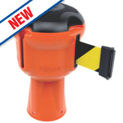 Skipper Retractable Barrier Orange with Black/Yellow Tape
