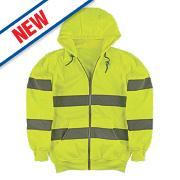 """Portwest Hi-Vis Zip Front Hoody Yellow Medium 46"""" Chest"""