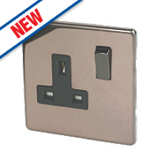 Varilight 13A 1G Double Pole Switched Socket Polished Bronze 230V