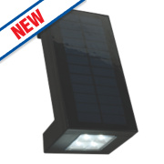 Matt Black Angled Solar Powered Wall Lamp 2W