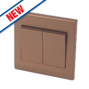 Retrotouch Simplicity 2-Gang 2-Way 10A Switch Bronze