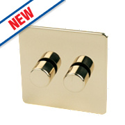 Crabtree 2-Gang 2-Way 250W Dimmer Polished Brass Flat Plt