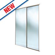 Spacepro 2 Door Framed Sliding Wardrobe Mirror Doors Beech / Mirror 1803 x 2260mm