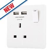 LAP 13A 1-Gang SP Switched Socket & 2-Gang USB Charger Port White