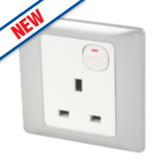 Schneider Electric Rocca 1-Gang 13A SP Switched Socket Fusion Silver