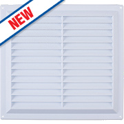 Map Vent Louvre Vent with Flyscreen White 229 x 229mm