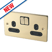 Schneider Electric Ultimate 2-Gang 13A DP Switched Socket Polished Brass