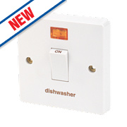 Crabtree 20A 1G Dishwasher Switch & Neon White Pack of 10